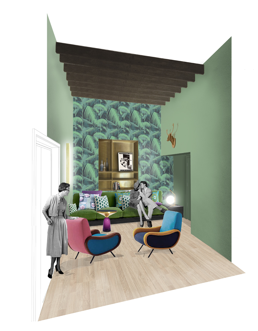 Kickoffice interiors designer architect casaff view livingroom sofa brass lady zanuso anastassiades