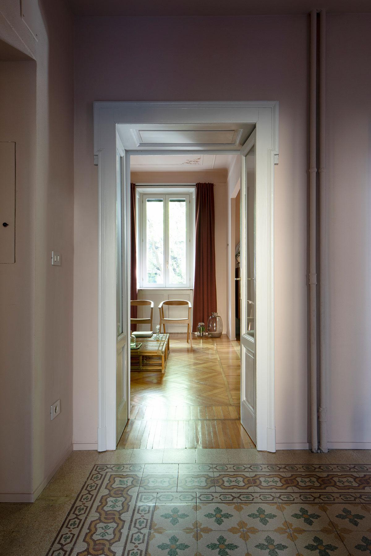 kickoffice casa da hallway terrazzo marmette pink door
