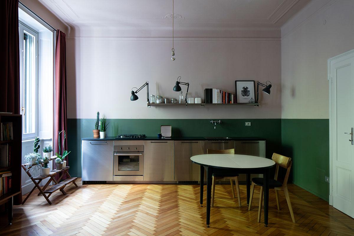 kickoffice casa da kitchen wood green stainlesssteel