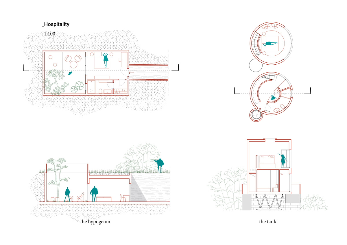 kickoffice common ruins competition room hospitality tank hypogeum