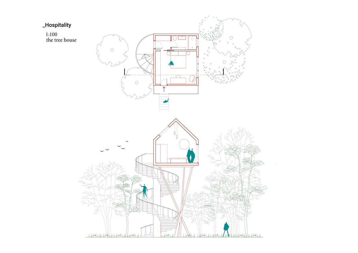 kickoffice common ruins competition room hospitality tree house