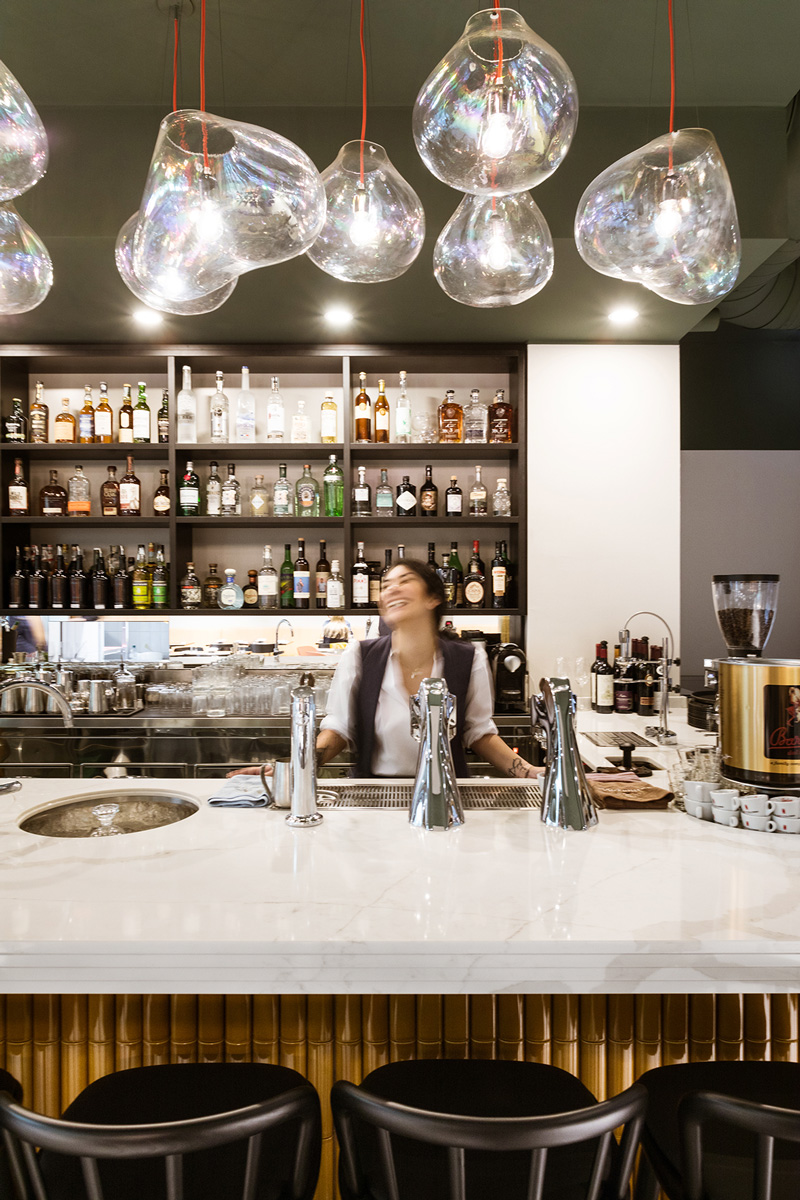 kickoffice opencolonna restaurant counter marble fontanaarte lamarzocco modbar