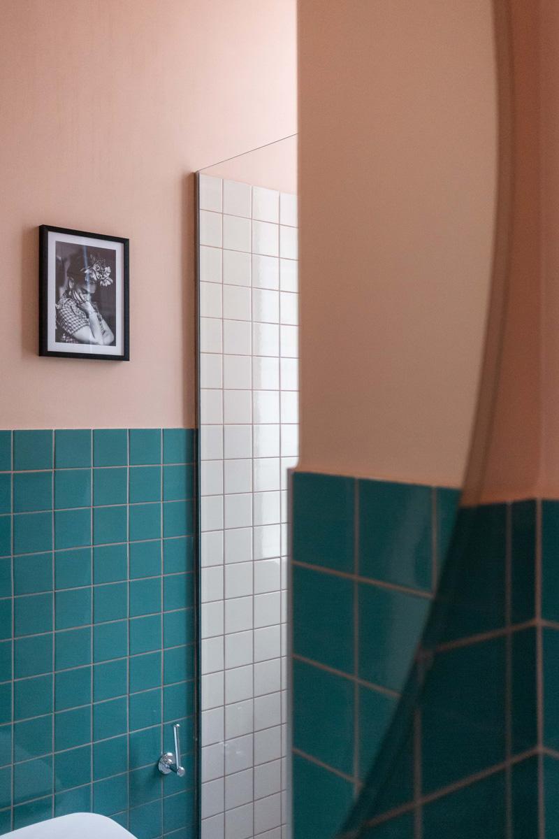 kickoffice broggi apartments bathroom tiles vogue pink turquoise mirror