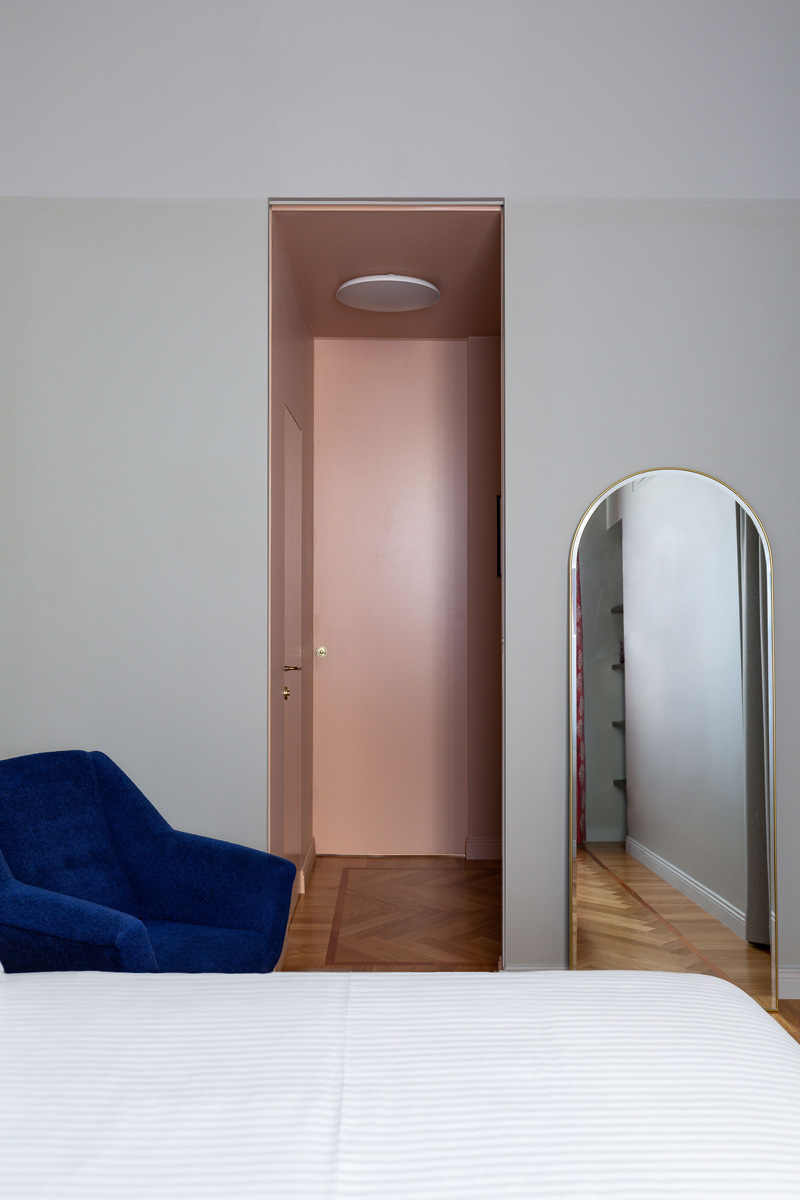 kickoffice broggi apartments bedroom pink corridor grey parquet