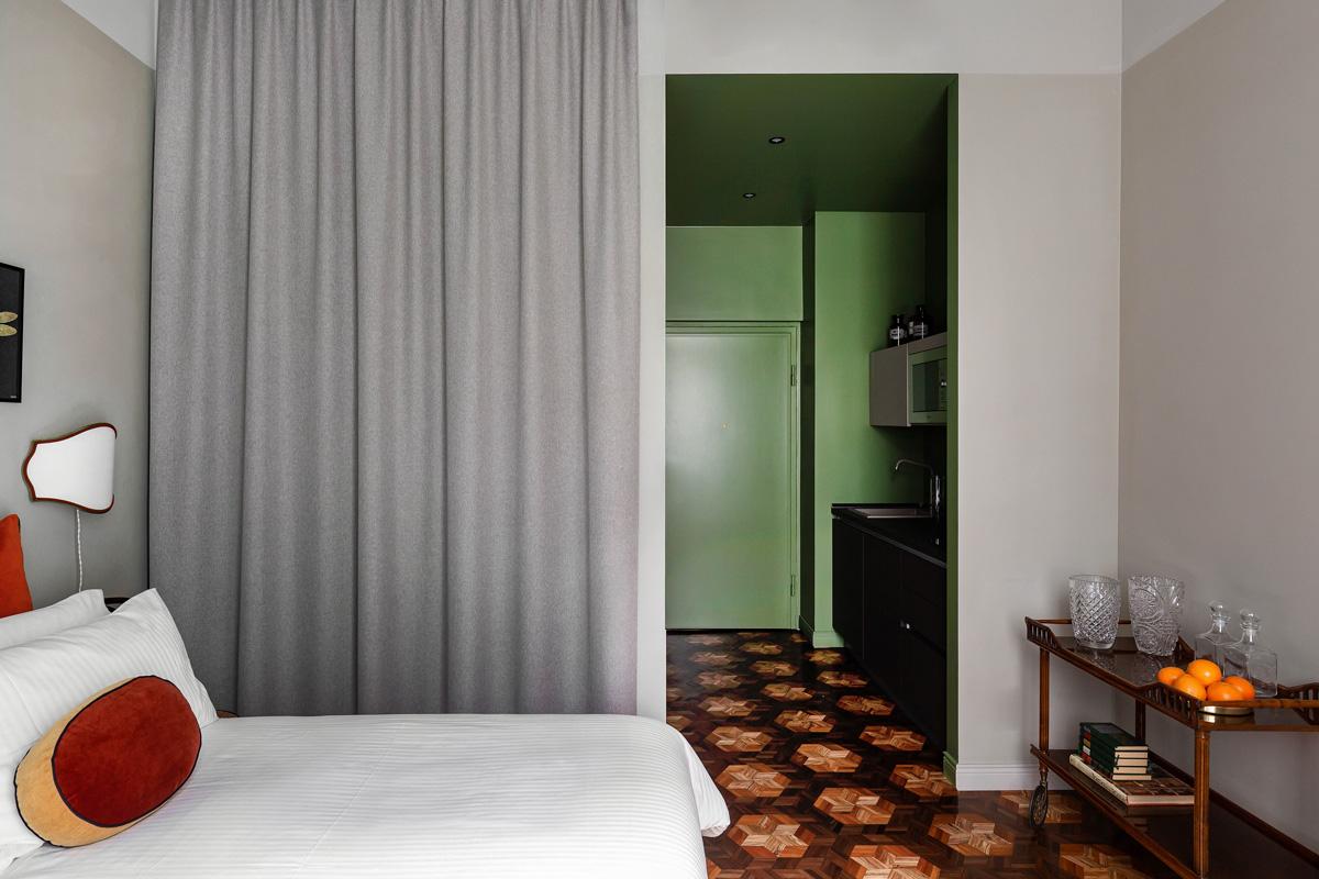 kickoffice broggi apartments bedroom wardrobe curtain