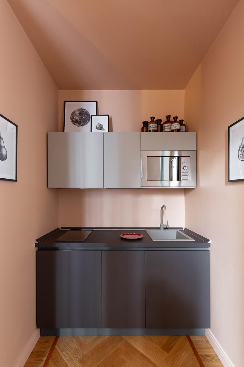 kickoffice broggi apartments kitchen pink pastel interiors