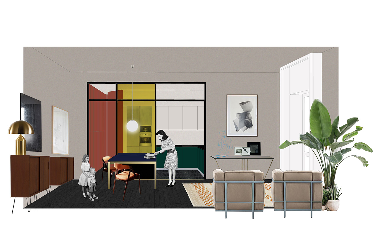 kickoffice casa cb collage view drawing section livingroom