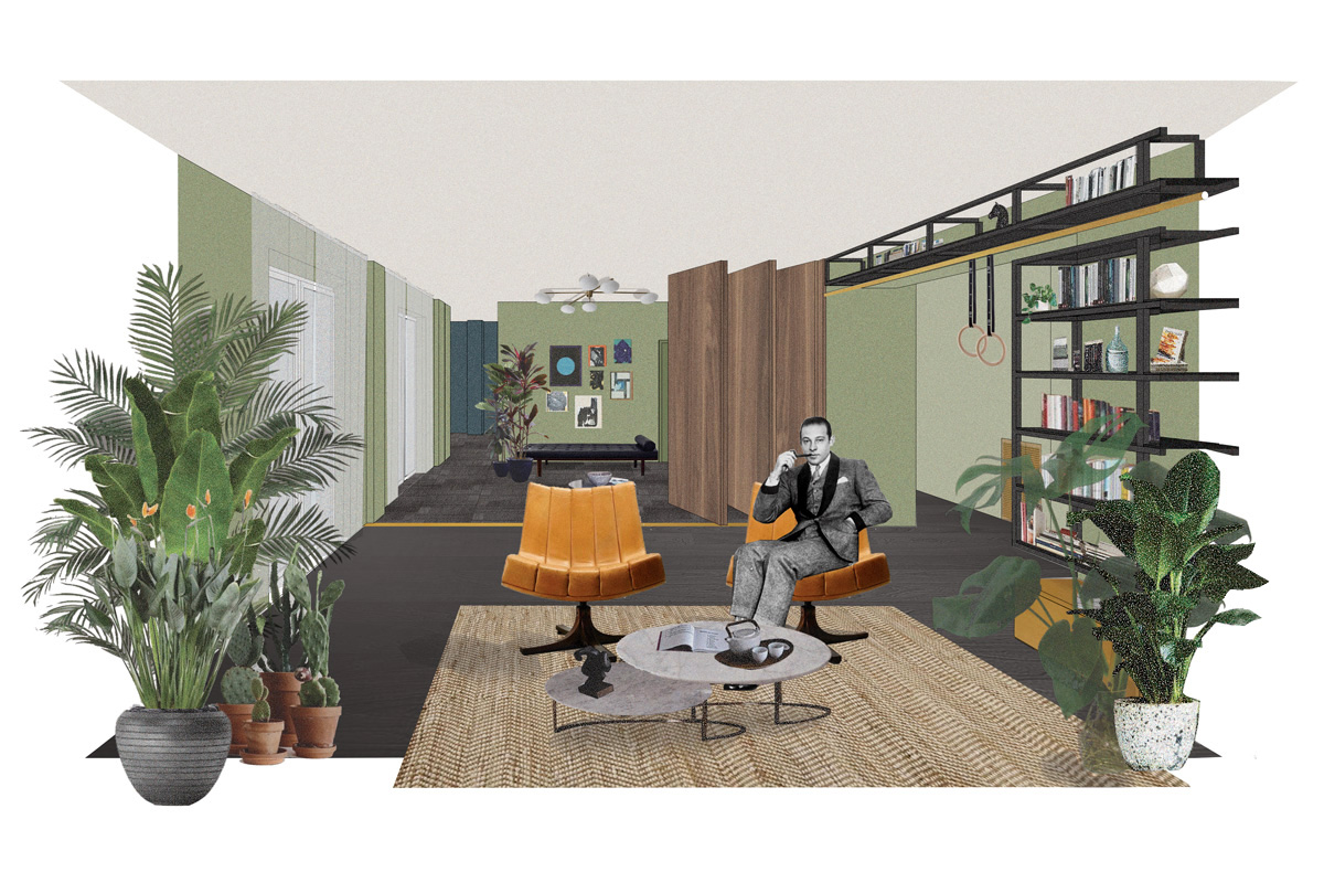 kickoffice casa l collage drawing section livingroom openspace