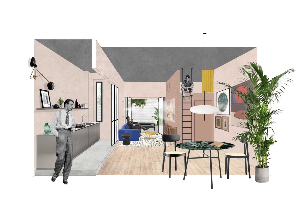 kickoffice casa r collage view livingroom