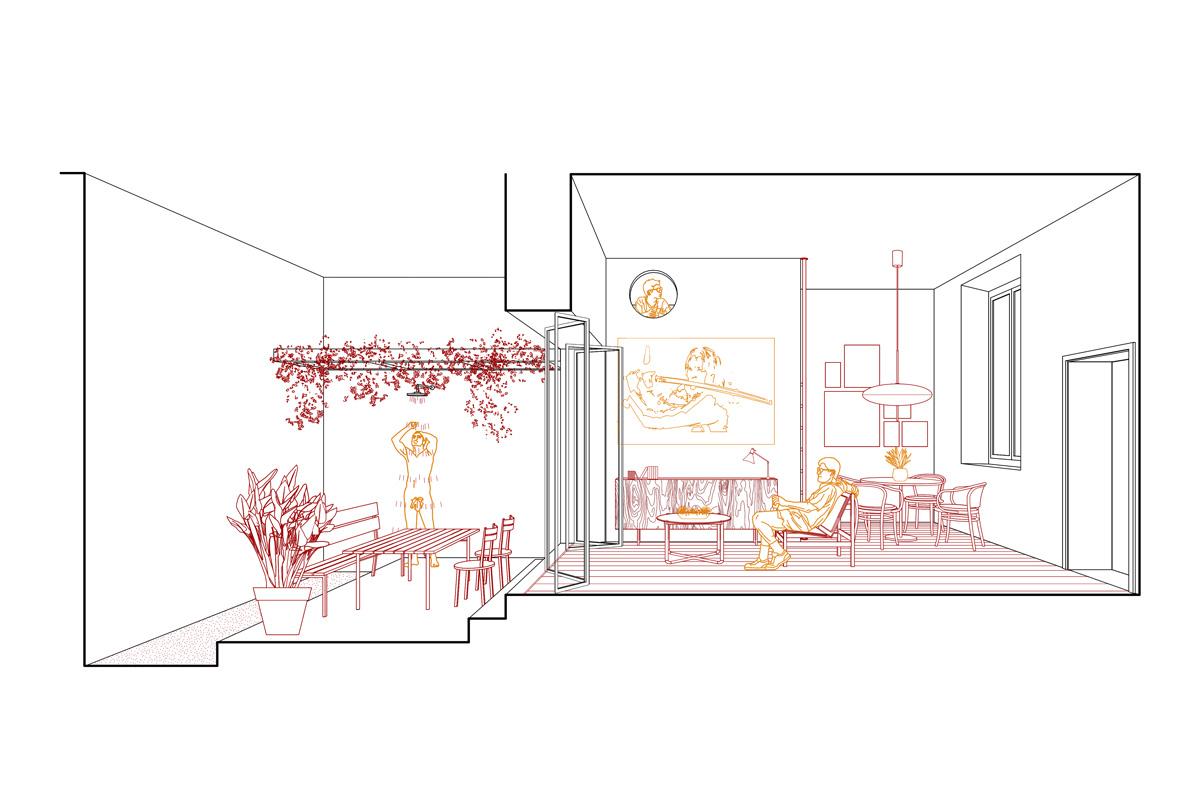 kickoffice casa r view section vector livingroom garden
