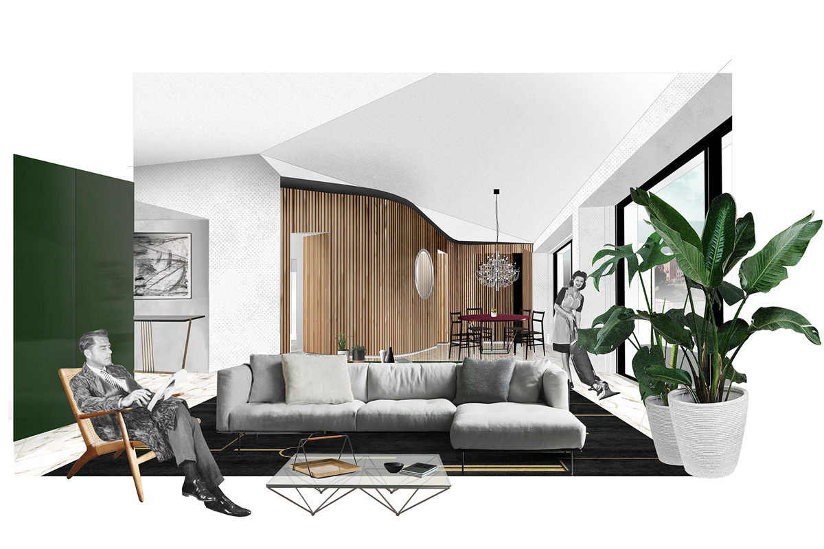 kickoffice casa t collage drawing livingroom view boiserie