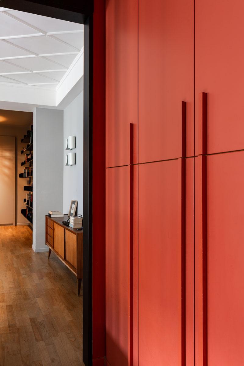 kickoffice casa cb hallway bespoke forniture orange color flos